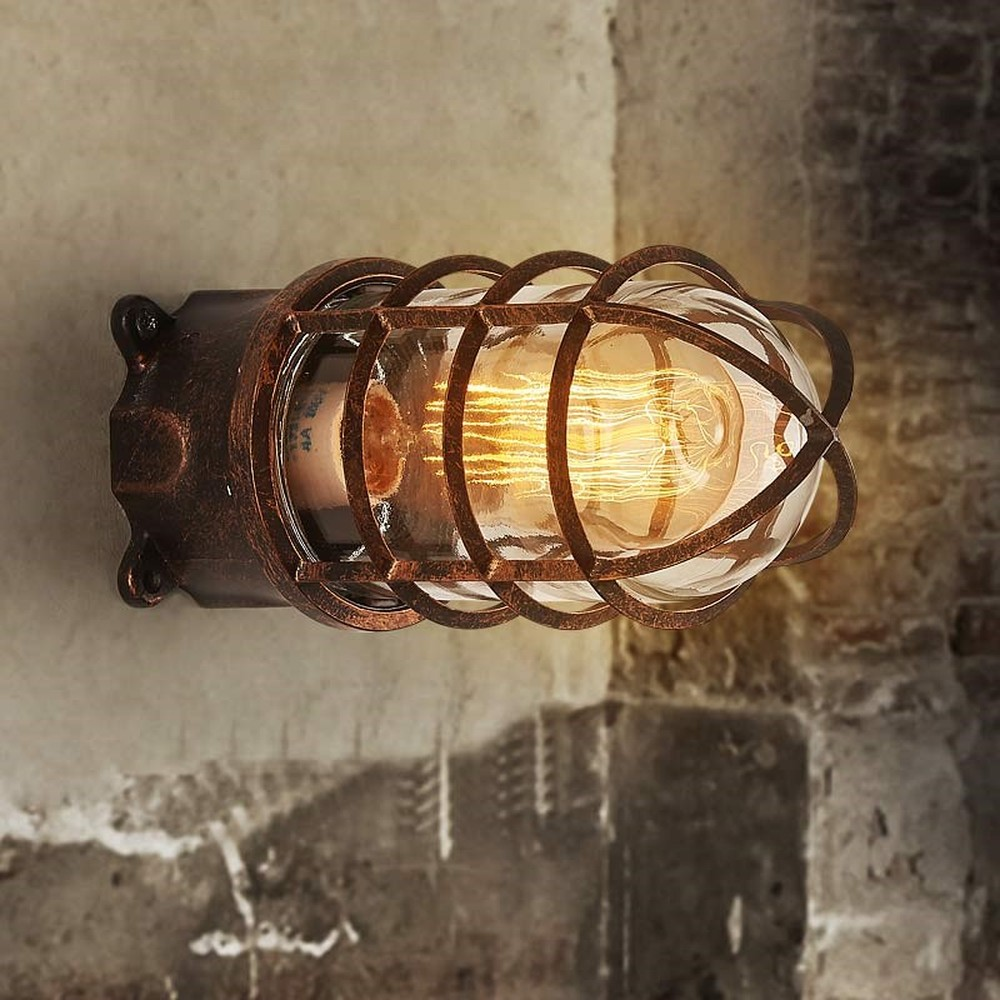 Loft outdoor wall lamp retro wrought iron wall light personality waterproof sconce corridor creative led wall light LU809944 nordic style retro light creative 1 lamp holder corridor bedside deco sconce wall lights contracted wrought iron wall lamps