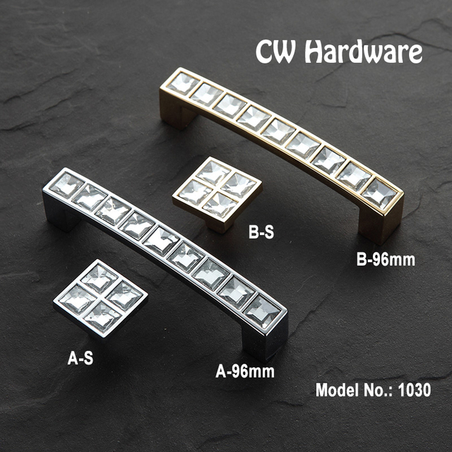 CW Hardware DECFAB 2pcs 1030 96 Modern Crystal door knobs and handles bling Furniture Handles With Crystals