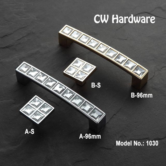 Hardware DECFAB 2 pcs CW 1030 96 Moderno Cristal maçanetas e puxadores de Móveis Alças Com Cristais de bling