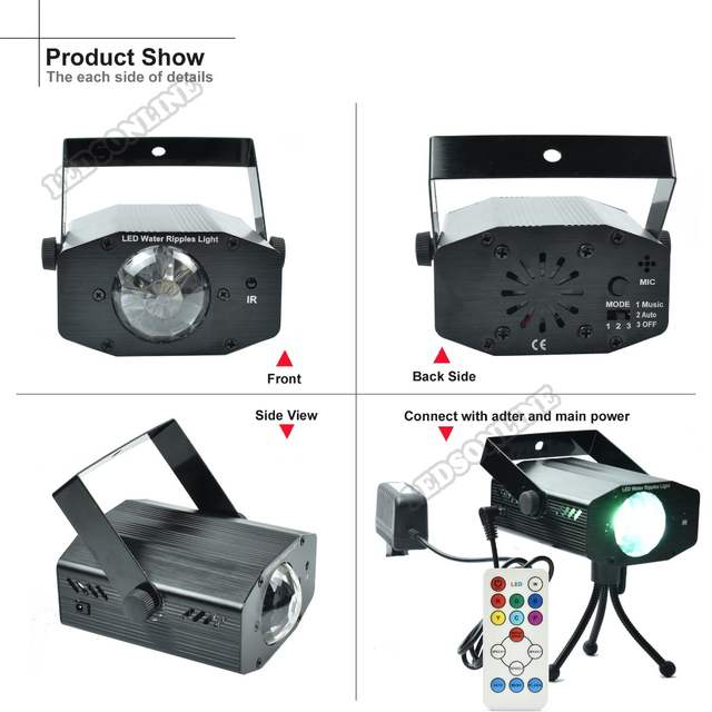Hot sale Video Ripple Effect Light Projector with 7 Colors, 3 Modes, 3  Speeds, IR Remote Control for home party wedding holiday