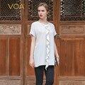 VOA 2018 Summer Fashion Solid White Brief Casual Silk T Shirt Brief Loose Harajuku Tee Cute Short Sleeve Women Tops B7012