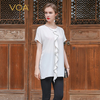VOA White Color Short Sleeved Silk Crepe Fabric T Shirt Female European Casual Loose Bow Collar