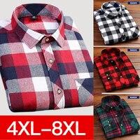 4XL 5XL 6XL 7XL 8XL Large Size Men S Casual Plaid Long Sleeved Shirt Slim Fit
