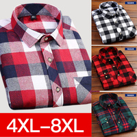 4XL 5XL 6XL 7XL 8XL Large Size Men S Casual Plaid Long Sleeved Shirt Slim Fit