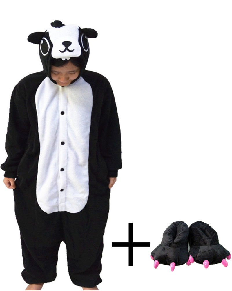 Hot Sales Black Skunk kawaii Onesie Cartoon Fantasy Paw Shoes Animal Pajamas Whole Nightgowns Women Sleepwear Long Sleeve Size