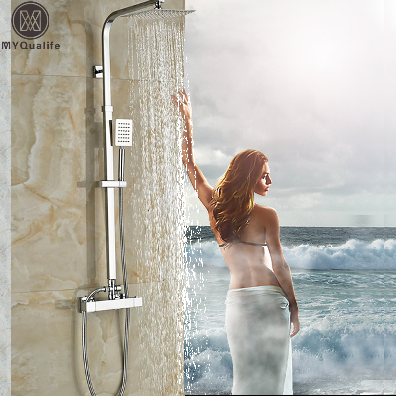 Luxury 8 Rainfall Shower Set Thermostatic Dual Handle Mixer Valve Bathroom Shower Mixers Stainless Steel Shower head handshower