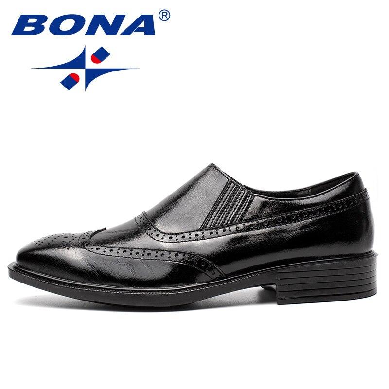 Sapatos Black Genuíno on Vestido Formal Bona Luz Homens Brown Couro Slip Confortável Estilo Classics Masculinos d dark De Escritório Chegada Nova Dos v ZqqzF0