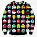 Cartoon hoodies men/women's 3d sweatshirts funny print country ball flag smile faces emoji sweatshirts pullovers