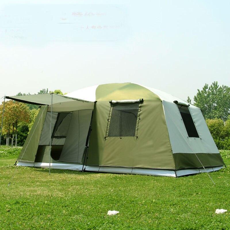 Alta qualidade 10 Pessoas double layer 2 quartos 1 hall grande festa de família barraca de acampamento ao ar livre em boa qualidade com grande espaço