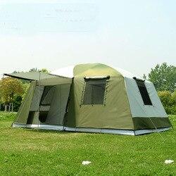 Di alta qualità di 10 Persone a doppio strato 2 camere 1 sala di grandi dimensioni all'aperto festa di famiglia tenda da campeggio in buona qualità con grande spazio