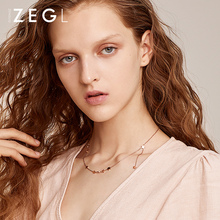 ZEGL star rose gold necklace for women ins simple personalized pentagram initial necklace titanium steel jewelry stainless steel initial necklace rose gold alphabet disc pendant necklace initial jewelry for women girls