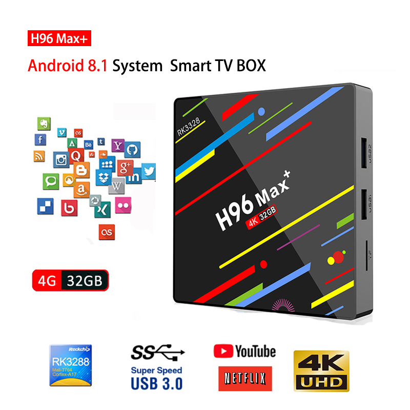 Android 8.1 TV Box H96 MAX Plus RK3328 Quad Core 4GB+32GB H.265 4K Set-top Box HDMI2.0 2.4G Wifi USB3.0 h96 pro media player h96 max plus tv box android 8 1 4gb 32gb 64gb set top boxes rk3328 quad core 4k ultra hd h 265 usb 3 0 wifi 2 4g media player