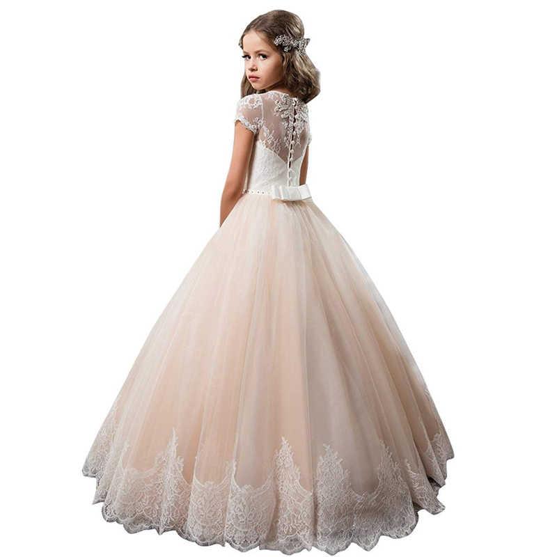 Champagne Flower Girl Dress Kids Ball Gown Fantasia Infantil Vestidos De Primera Comunion 2019 First Communion Dresses For Girls