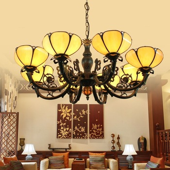 Tiffany Baroque Stained Glass Suspended Luminaire E27 110-240V Chain Pendant lights  for Home Parlor Dining Room