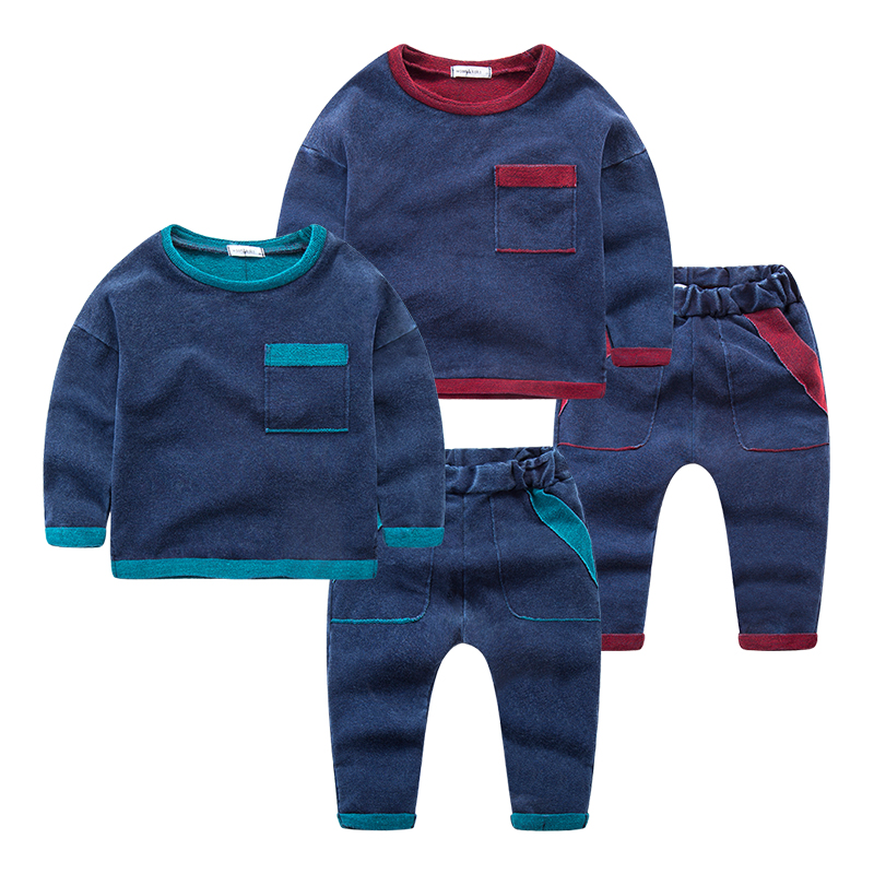 2017 Casual Boys Clothing Sweatshirt Set Spring Autumn Kids Two Piece Clothes Long Sleeve Pullover Sports Suit For Children kids boys long sleeve pullover shirt jeans denim trousers 2016 spring kids clothes casual boys clothing set