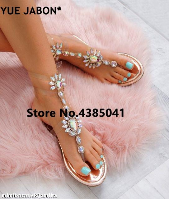 HTB1hOwtb.z.BuNjt bXq6AQmpXaP 2019 shoes woman sandals women Rhinestones Chains Flat Sandals Thong Crystal Flip Flops sandals gladiator sandals 43 free ship