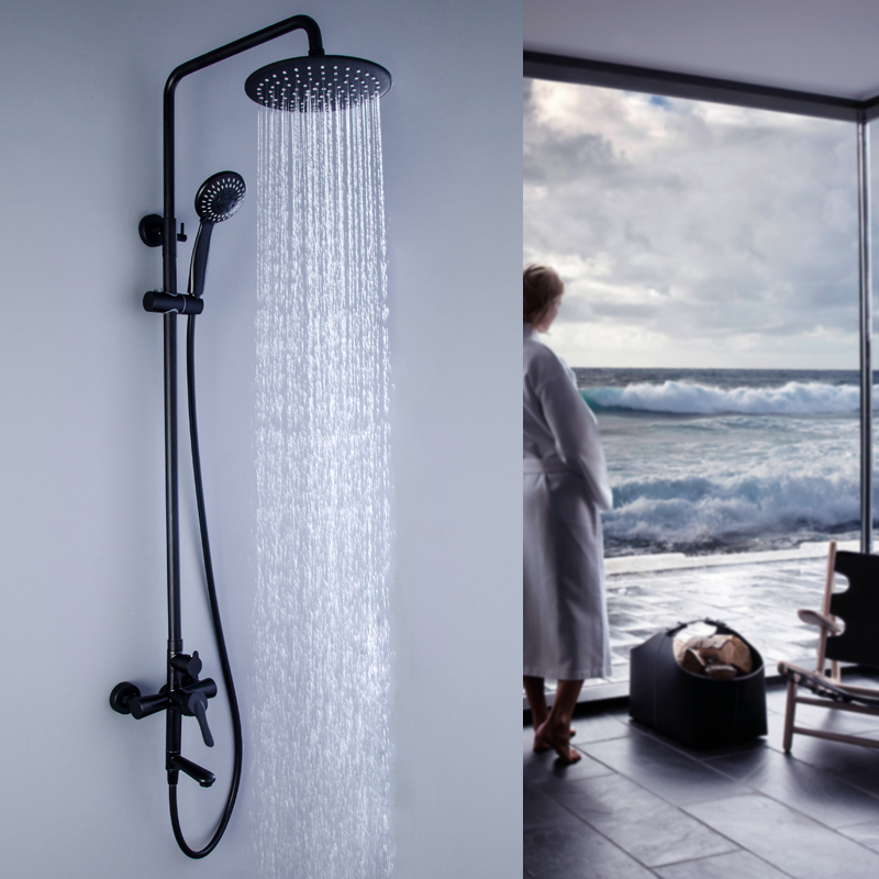 New Style Free shipping 304 Stainless Steel Black Finished Wall Mounted Round Rainfall Shower Set Mixer Valve Faucet with Spout brass thermostatic mixer valve shower set mixer faucet two handle wall mount shower kit stainless steel 10 rainfall showerhead