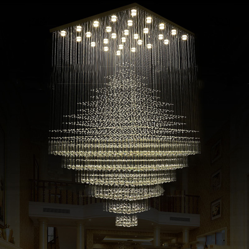gramercy люстра atom large chandelier Modern Large engineering crystal chandelier penthouse villa property grade staircase crystal lamps Big Luxury Crystal Chandelier