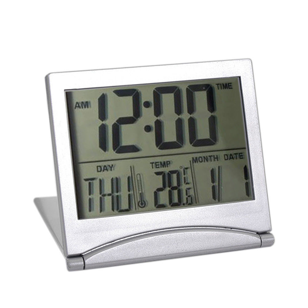 4 in 1 Multifunctional Digital LCD Folding Alarm Clock Modern Timer with LED Screen Snooze Calendar Thermometer Date 2017ing