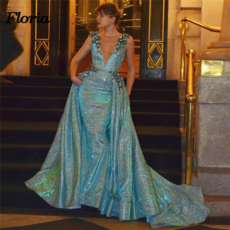 African Shiny Sexy   Evening     Dresses   Dubai Arabic Pageant   Dress   With Detach Skirt Muslim Formal Prom Gowns New 2018 Robe de soiree