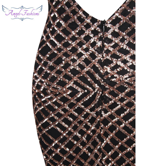Angel-fashions  vestido de noiva  Spaghetti strap Sequin Court  Mermaid  Long Evening Dress Black 224