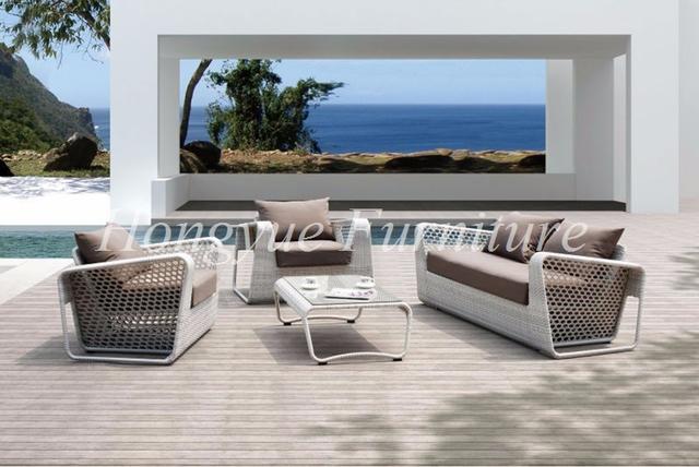 Patio al aire libre muebles de mimbre blanco diseños de conjunto de sofás de mimbre