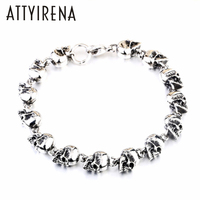 ATTYIRENA 316L Stainless Steel Bracelet Punk Skull Bracelet For High Quality Fashion Skeleton Jewelry US EURO