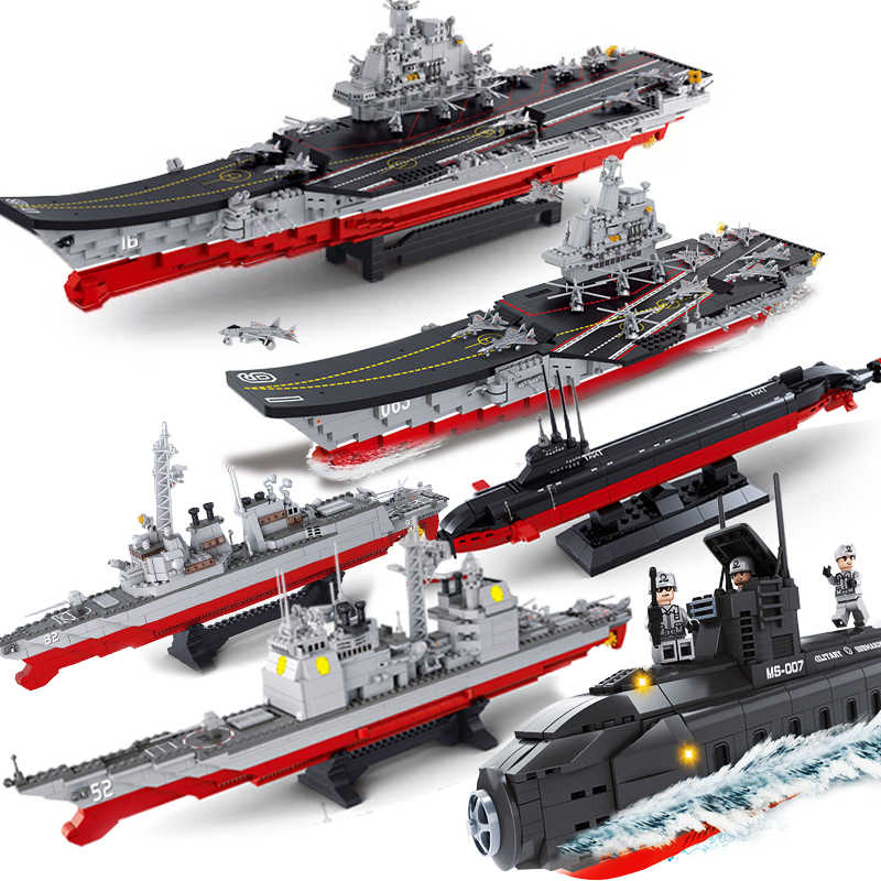 2019 Military Submarine Sets Ship Boat Aircrafted Carrier Warship Model Building Kits Blocks Bricks Child Kid Toys Gift