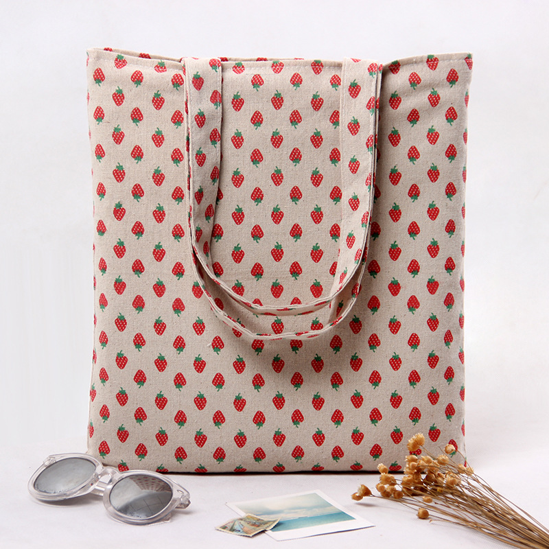YILE 2 Layer Cotton Linen Eco Reusable Shopping Tote Carrying Bag Strawberry L259 NEW