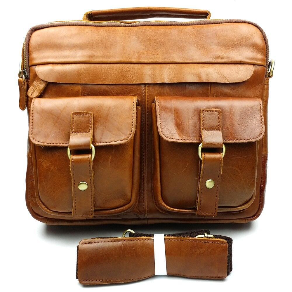 ФОТО JOYIR Genuine Leather Men Bag Crazy Horse Leather Men Handbags Business Laptop Shoulder Bags Briefcase Messenger bag Gift B207