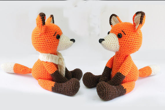 Fox Amigurumi Fox  Crochet Knitted Stuffed Animals Wild Animals Doll Toy Baby Shower Rattle Gift
