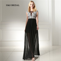 H&S Bridal Black Short Inner Skirt Long Chiffon Prom Dresses White Embroidery Lace Sheer Sexy Party Evening Dresses