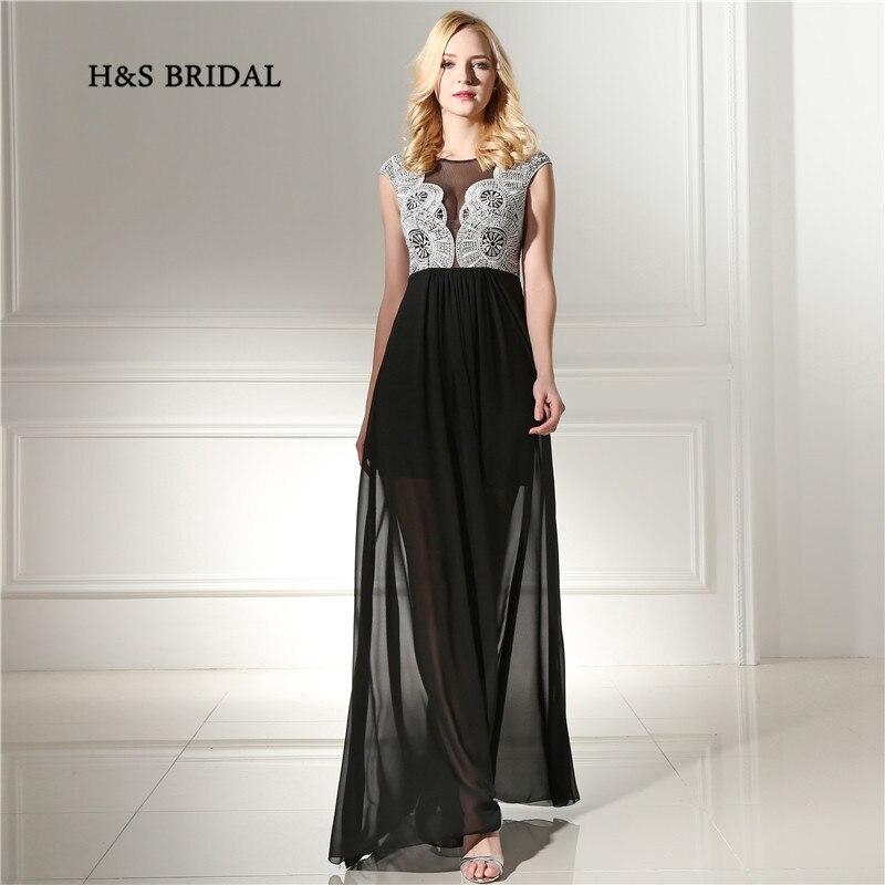 H & S mariée noire courte intérieure jupe longue en mousseline de soie robes de bal blanc broderie dentelle pure Sexy fête robes de soirée
