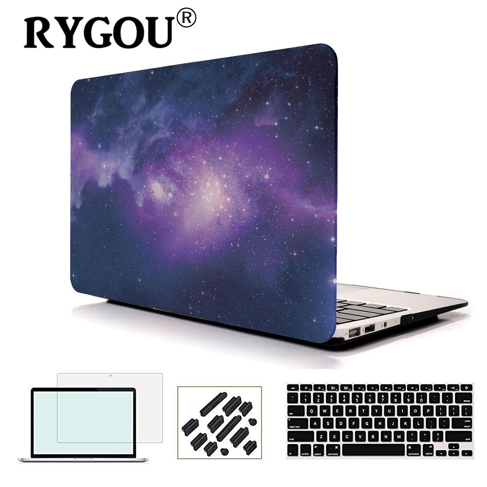 RyGou för MacBook Air 13 Case Galaxy Print Plast snäpp på fodral passar Mac Book Air 11 13 A1932 A1370 / A1465 / A1369 / A1466 Skal