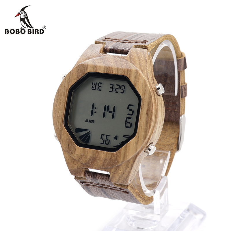 BOBO BIRD V-A13 Men's Luxury Watches Wood Digital Wristwatch with Genuine Leather Band Complete Calendar Watch for Men as Gifts