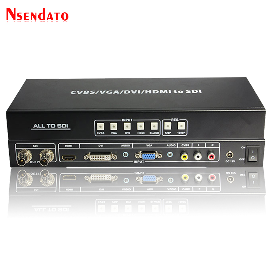 CVBS VGA DVI HDMI ALL to HD 3G SDI Scaler Converter R/L AV Singal To 3G SDI Video Splitter Extender Converter with Power Adaptor