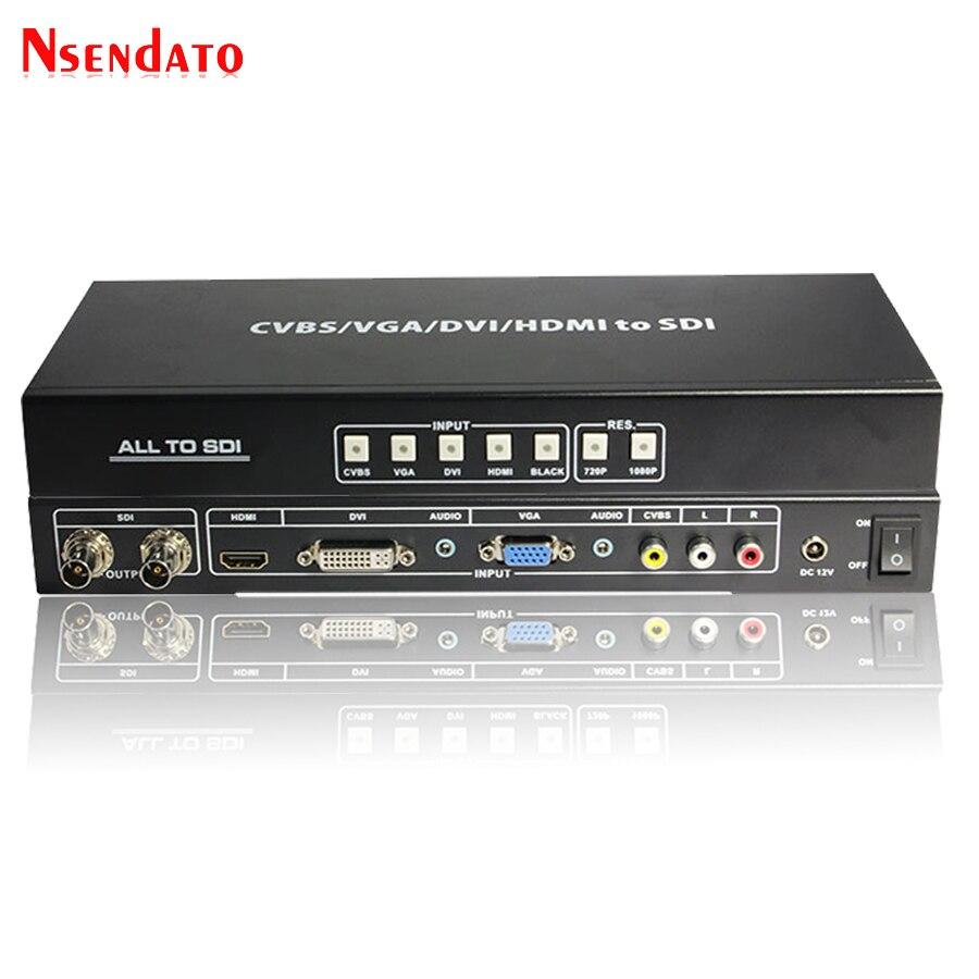 CVBS VGA DVI HDMI ALL to HD 3G SDI Scaler Converter R/L AV Singal To 3G SDI Video Splitter Extender Converter with Power Adaptor