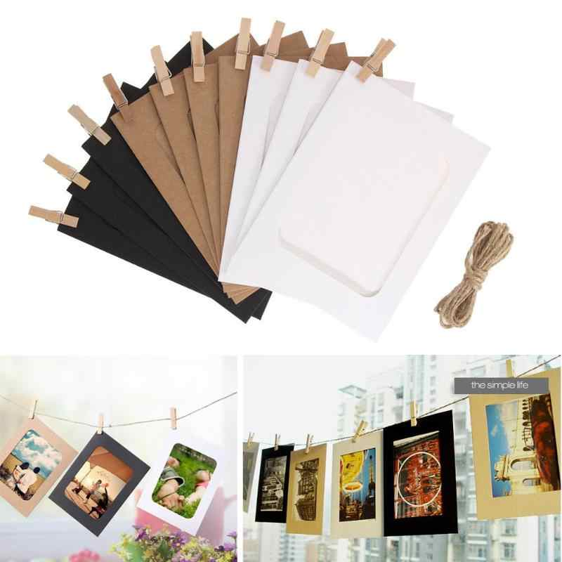 10Pcs 6ins DIY Combination Wall Photo Frame with 10pcs Clips and Rope DIY Hanging Wall Picture Album Kraft Home Decoration