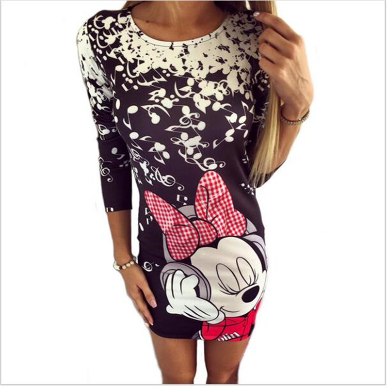 Women summer dresses 2017 sexy micky heart cartoon print bodycon pencil dress woman party club milk