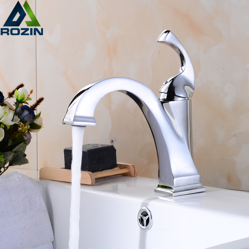 Bright Chrome Bathroom Vessel Sink Tap Single Handle One Hole Lavatory Hot and Cold Water Mixer Cranes niko 50pcs chrome single coil pickup screws
