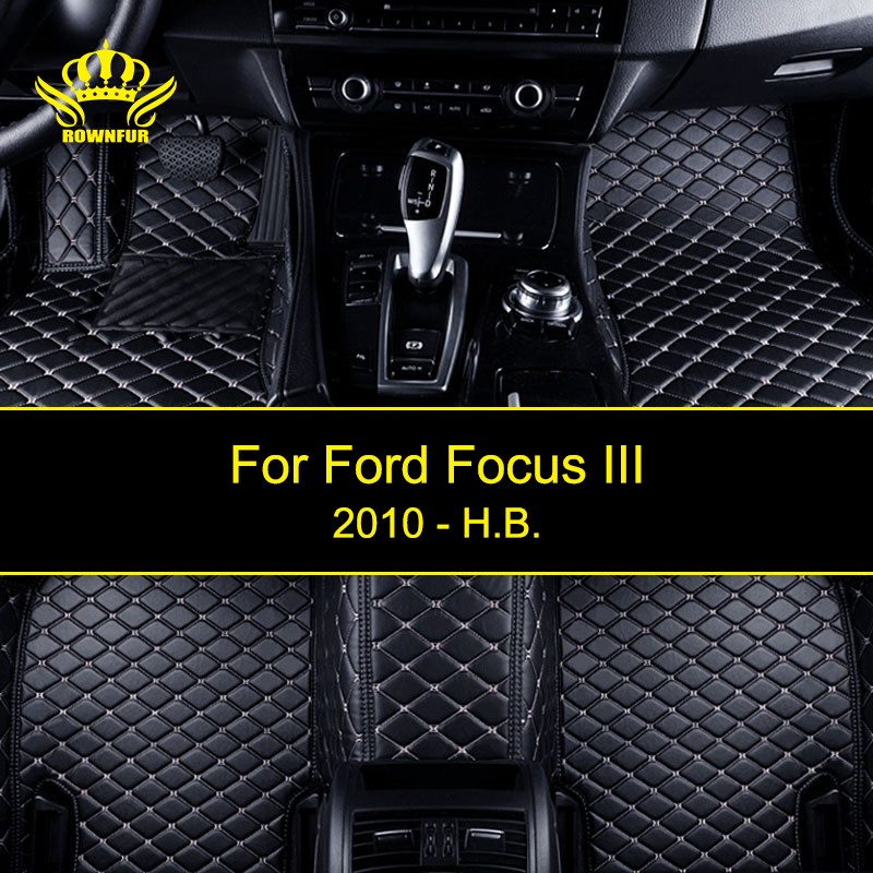 ROWNFUR Custom Car Floor Mats For Ford Focus III High Quality Waterproof Leather Floor Mats Car-styling Interior Car Carpet Mat auto floor mats for honda cr v crv 2007 2011 foot carpets step mat high quality brand new embroidery leather mats