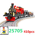 Building block train set Enlighten Train Series Steam Freight Locomotive building block sets,toys for children free Shipping