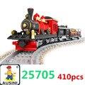Tren del bloque hueco Aclare la Serie Del Tren de Carga de Vapor Locomotora conjuntos de bloques de construcción, juguetes para los niños envío Gratuito