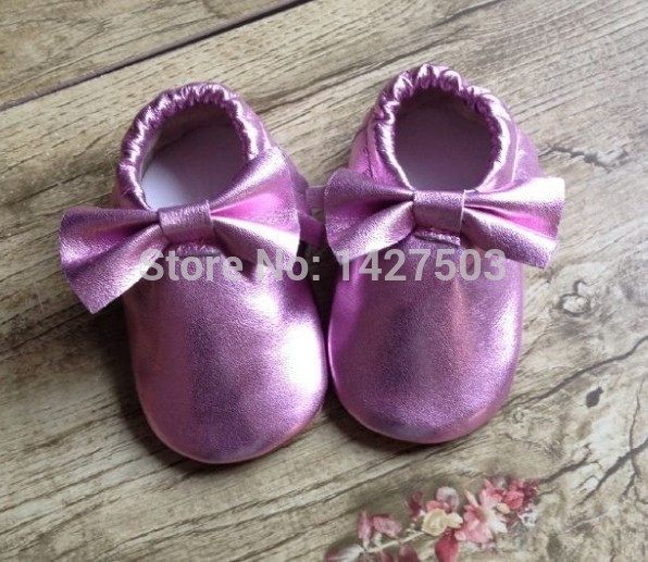 50pairs/lot metallic  baby bows moccs fringe shoes genuine leather moccasin soft leather moccs baby booties toddler tassel shoes