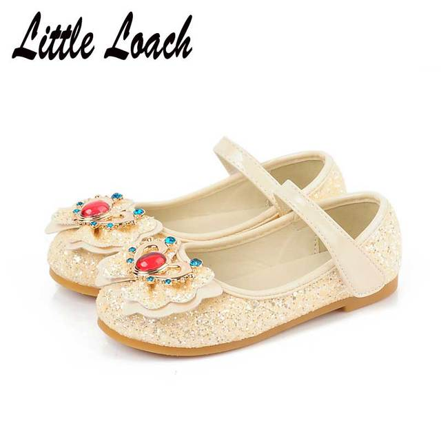 Kids Princess Flats Sequins Bowknot Fashion Dress Shoes Girls Party Wedding  PU Leather Bling Bling Shoes White Pink Mocassins 6d9156681110