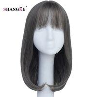 SHANGKE Haar 14 ''Medium Rechte Synthetisch Haar Light Grey Pruik voor Witte Vrouwen Hittebestendige Synthetische Pruiken Met Air verbod