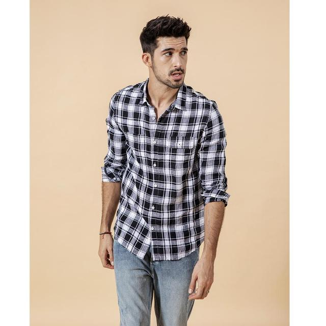 SIMWOOD 2020 summer new shirt men plaid 100% linen shirts fashion casual breathable cool plus size brand clothing 190203