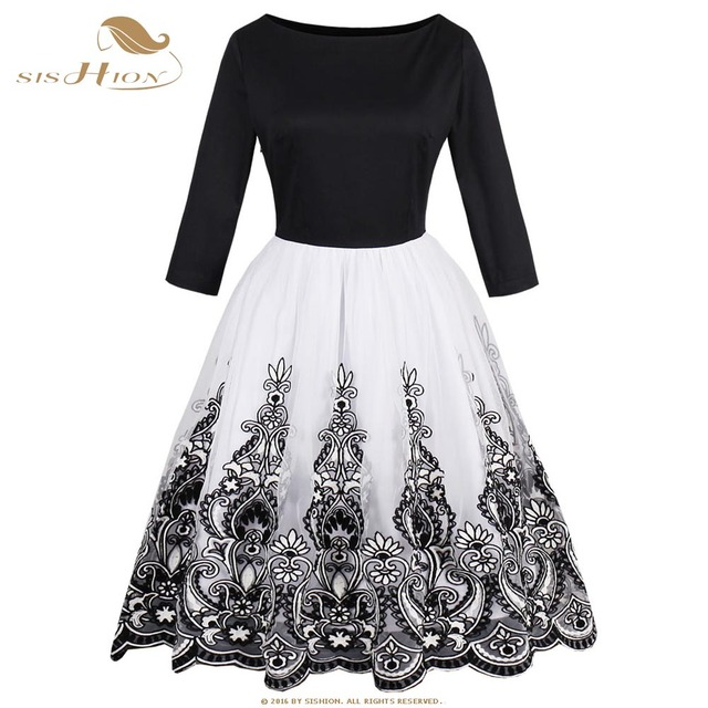 2762130c6172 SISHION Cotton+Tulle 3/4 Long Sleeve Winter Dress Plus Size 4XL Print Embroidery  Black Elegant Swing Vintage Retro Dress VD0625