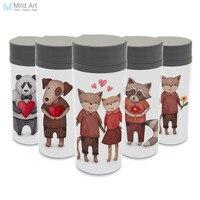 קיר כפול אהבת בעלי חיים בצבעי מים BPA חופשי נייד Kawaii DIY פלסטיק מותאם אישית הדפסת אמנות בקבוק מים לילדים 300 ML שתייה