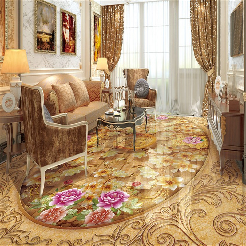 Beibehang Photo Floor Papel De Parede 3D Wallpaper For Living Room Bathroom Self Adhesive Waterproof 3d Flooring Wall-paper